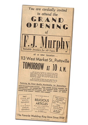 Advertisement of the Grand Opening of Murphy Jewelers