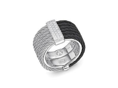 Cropped product listing noir two tone cable ring
