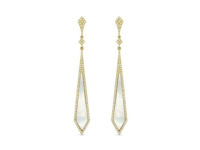 Cropped product listing white pother of pearl stiletto earrings