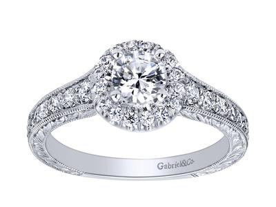 Cropped product listing halo engagement ring