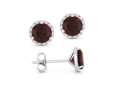 Cropped product listing garnet stud earrings