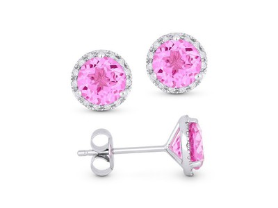 Cropped product listing pink stud earrings