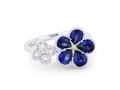 Cropped product listing blue sapphire flower ring