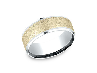 Cropped product listing brushed gold wedding band