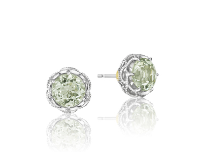 Cropped product listing prasiolite stud earrings