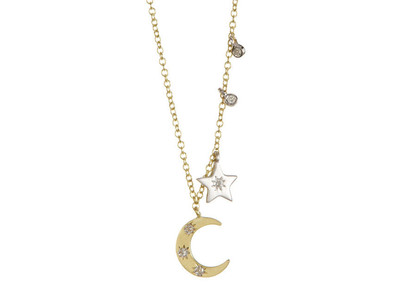 Cropped product listing moon and star necklace