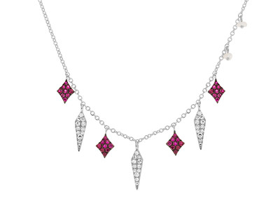Cropped product listing ruby diamond fringe necklace