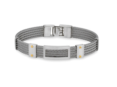 Cropped product listing gents 5 row grey cable bracelet