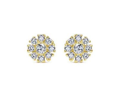 Cropped product listing diamond stud floral earrings
