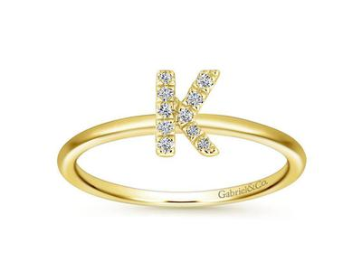 Cropped product listing diamond k initial ring