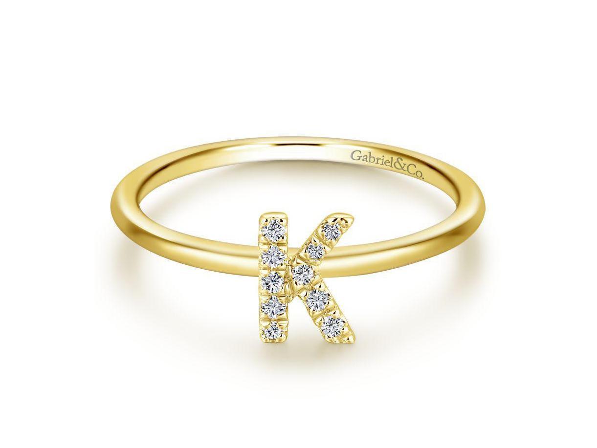 Gabriel & Co  Diamond 'K' Initial Ring — Murphy Jewelers