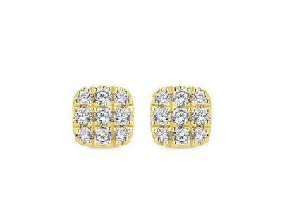 Cropped product listing square diamond cluster stud earrings