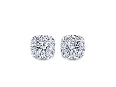 Cropped product listing diamond halo stud earrings