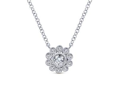 Cropped product listing diamond floral necklace