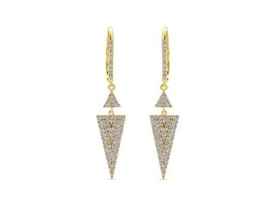 Cropped product listing triangle drop earrings