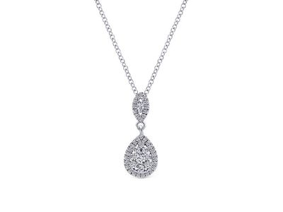 Cropped product listing diamond double drop necklace