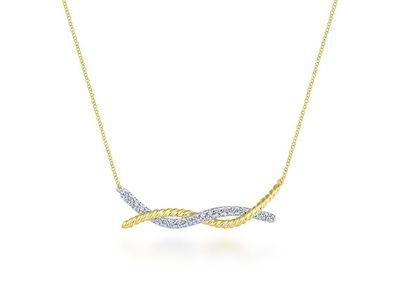 Cropped product listing twisted two tone bar necklace