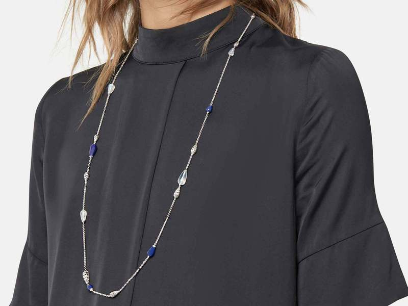 Cropped product page classic chain station necklace with lapis lazuli