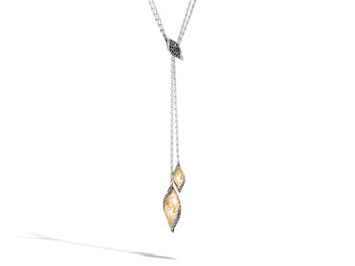 Cropped product listing wave hammered lariat necklace