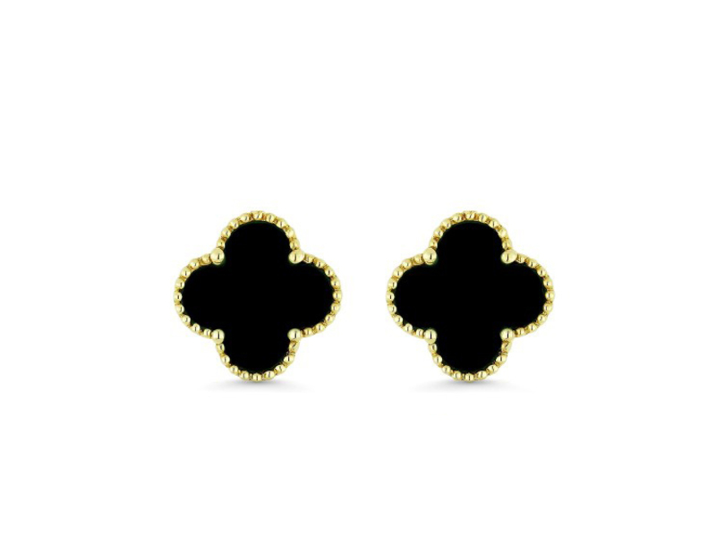 Cropped product page black onyx floral stud earrings