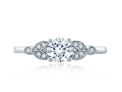 Cropped product listing floral milgrain accent engagement ring