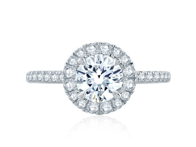 Cropped product listing halo engagement ring with belted gallery