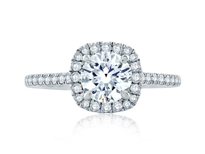 Cropped product listing cushion shaped halo engagement ring