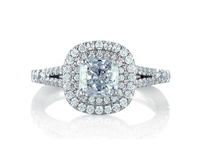 Cropped product listing double halo cushion engagement ring
