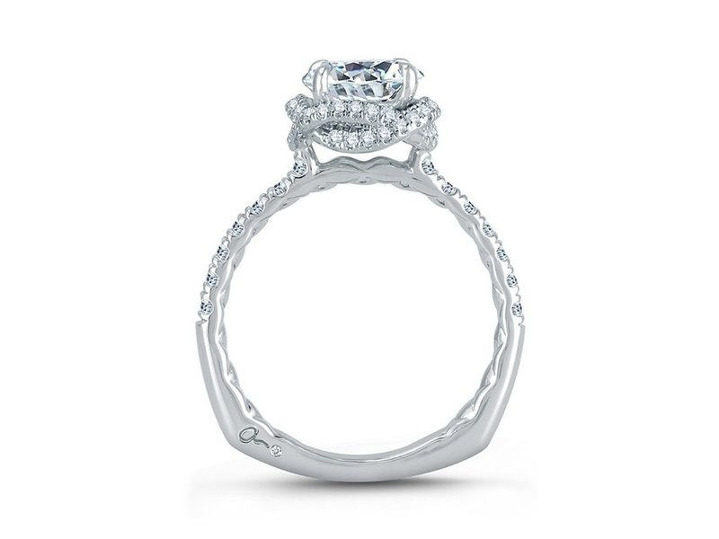 Cropped product page intertwined halo engagement ring