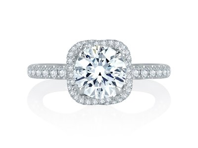 Cropped product listing intertwined halo engagement ring
