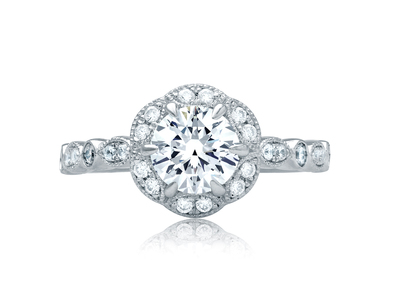 Cropped product listing floral halo alternating shank engagement ring