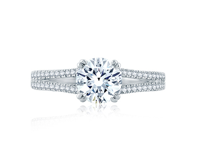 Cropped product listing split shank solitaire engagement ring