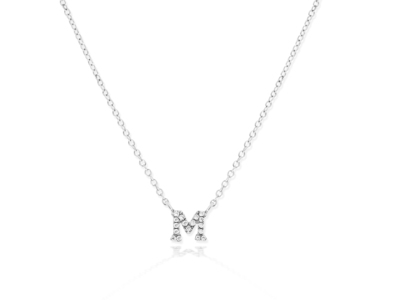 Cropped product listing mini diamond initial m necklace