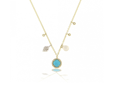 Cropped product listing yellow gold turquoise charm necklace