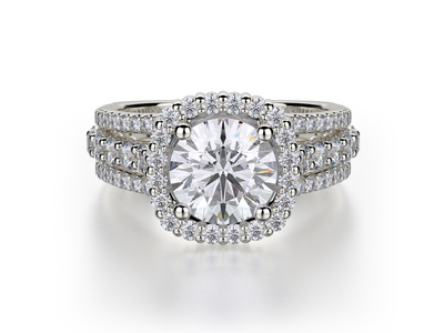 Cropped product listing halo three row engagement ring