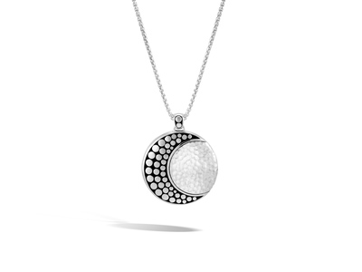 Cropped product listing moon phase hammered necklace