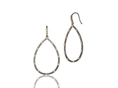 Cropped product listing signature bezel teardrop earrings