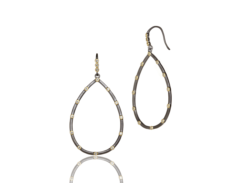Cropped product page signature bezel teardrop earrings