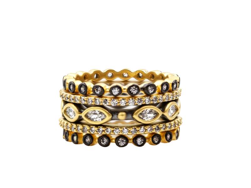 Cropped product page signature marquise stack of 5 rings
