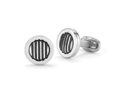 Cropped product listing black cable cuff links