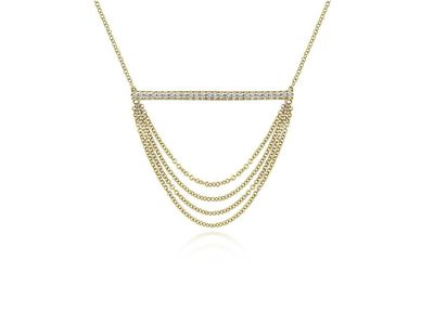 Cropped product listing draped diamond bar necklace
