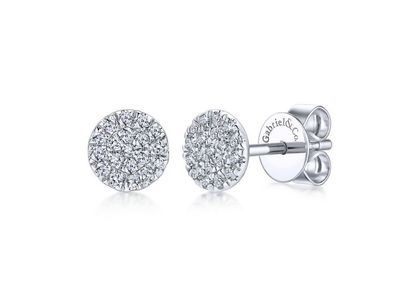 Cropped product listing round cluster diamond stud earrings