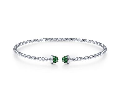 Cropped product listing flexible emerald cuff bracelet