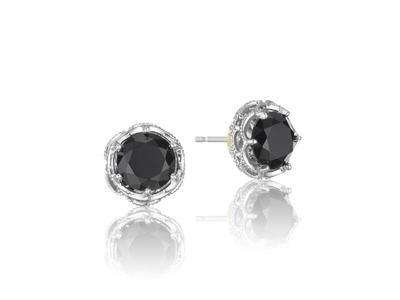 Cropped product listing black lightning stud earrings