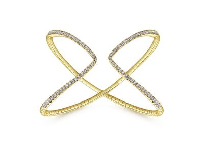 Cropped product listing crossover open diamond cuff