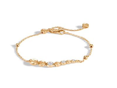 Cropped product listing hammered pull through bracelet with diamonds