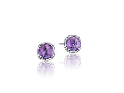 Cropped product listing amethyst stud earrings
