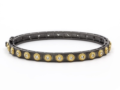 Cropped product listing signature studded eternity hinge bangle