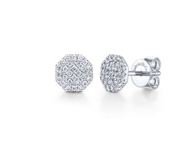 Cropped product listing octagonal cluster diamond studs