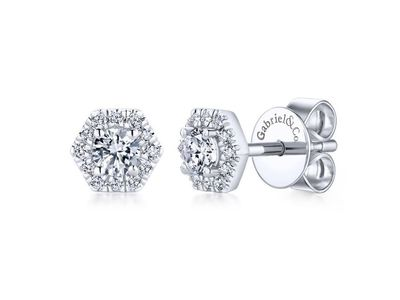 Cropped product listing hexagonal diamond studs